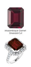#351 Platinum Natural Hearts & Arrows 28 Super Ideal Cut Diamonds 7 ct. Garnet Bespoke Ring