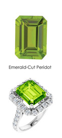 #341 Platinum Natural Hearts & Arrows 28 Super Ideal Cut Diamonds 6.2 ct. Peridot Bespoke Ring