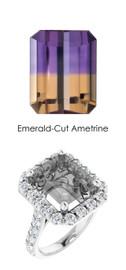 #342 Platinum Natural Hearts & Arrows 28 Super Ideal Cut Diamonds 5.9 ct. Ametrine Bespoke Ring