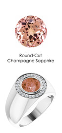 801 Platinum 24 CanadaMark Conflict Free Diamonds Round Champagne Sapphire Bespoke Men's Ring