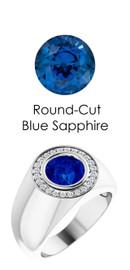 802 Platinum 24 CanadaMark Conflict Free Diamonds Round Blue Sapphire Bespoke Men's Ring