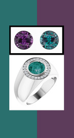 0000804 Sterling Silver H&A 24 Diamonds Round Alexandrite Bespoke Men's Ring