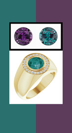 805 18K Yellow Gold 24 CanadaMark Conflict Free Diamonds Round Alexandrite Bespoke Men's Ring