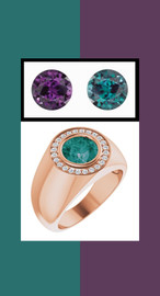 806 18K Rose Gold 24 CanadaMark Conflict Free Diamonds Round Alexandrite Bespoke Men's Ring