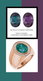 808 18K Rose Gold 30 CanadaMark Conflict Free Diamonds Oval 6.4 ct. Alexandrite Bespoke Men's Ring