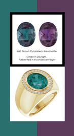 807 18K Yellow Gold 30 CanadaMark Conflict Free Diamonds Oval 6.4 ct. Alexandrite Bespoke Men's Ring