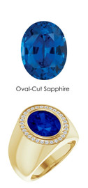 4 18K Yellow Gold 30 CanadaMark Conflict Free Diamonds Oval 6.5 ct. Blue Sapphire Bespoke Men's Ring