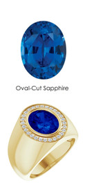 6 18K Yellow Gold 28 CanadaMark Conflict Free Diamonds Oval 4.8 ct. Blue Sapphire Bespoke Men's Ring