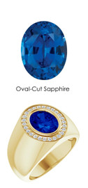00007 18K Yellow Gold H&A 26 Diamonds Oval 3.8 ct. Blue Sapphire Bespoke Men's Ring