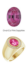 701 18K Yellow Gold 26 CanadaMark Conflict Free Diamonds Oval 3.8 ct. Pink Sapphire Bespoke Men's Ring