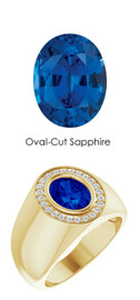 8 18K Yellow Gold 24 CanadaMark Conflict Free Diamonds Oval 2.6 ct. Blue Sapphire Bespoke Men's Ring