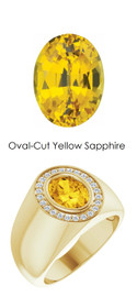 0000702 18K Yellow Gold H&A 24 Diamonds Oval 2.6 ct. Yellow Sapphire Bespoke Men's Ring