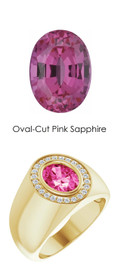 703 18K Yellow Gold 24 CanadaMark Conflict Free Diamonds Oval-Cut 2.6 ct. Pink Sapphire Bespoke Men's Ring