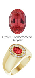 10576 18K Yellow Gold 22 CanadaMark Conflict Free Diamonds Oval-Cut 1.7 ct. Padparadscha Sapphire Bespoke Men's Ring