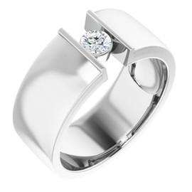 #10577 Platinum 9mm Wide Wedding Band, Certified Round-Cut Diamond Center Bespoke Men's Ring