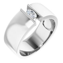 #10578 Platinum 9mm Wide Wedding Band, Oval-Cut Diamond Center Bespoke Men's Ring