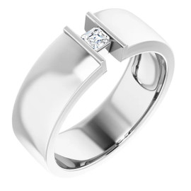 000010579 Platinum 9mm Wide Wedding Band, Asscher-Cut Diamond Center Bespoke Men's Ring