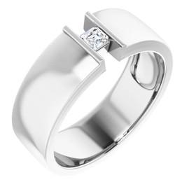 #10579 Platinum 9mm Wide Wedding Band, Asscher-Cut Diamond Center Bespoke Men's Ring