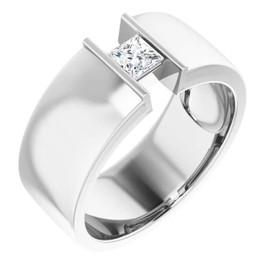 #10581 Platinum 9mm Wide Wedding Band, Square-Cut Diamond Center Bespoke Men's Ring