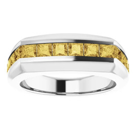 000010582 Platinum Yellow Square-Cut 2.3 Ct. Diamond Men's Band Ring