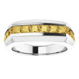 #10582 Platinum Yellow Square-Cut 2.3 Ct. Diamond Men's Band Ring