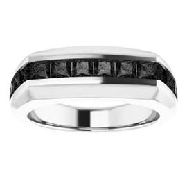 #10583 Platinum Opaque Black Square-Cut 2.3 Ct. Diamond Men's Band Ring