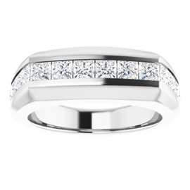 #10584 Platinum Square-Cut 2.3 Ct. Colorless Diamonds Men's Band Ring