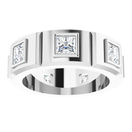 000010585 Platinum Square-Cut 3.1 Ct. Colorless Diamonds Men's Band Ring