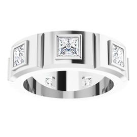 #10585 Platinum Square-Cut 3.1 Ct. Colorless Diamonds Men's Band Ring