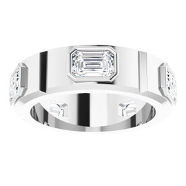 #10586 Platinum Emerald-Cut 3.75 Ct. Colorless Diamonds Men's Band Ring