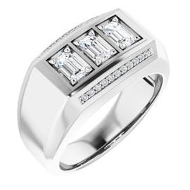 #10588 GuyDesign® Platinum Mens 3 Emerald-Cut 1.5 Ct. Diamond Ring