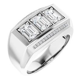 #10589 GuyDesign® Platinum Mens 3 Emerald-Cut 2.25 Ct. Diamond Ring