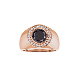 #4193 Heavy 18K Rose Gold CanadaMark Conflict Free Diamonds 2 ct. Round-Cut Black Diamond Men's Halo Ring