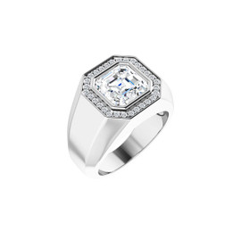 #3772 Heavy Platinum H & A Diamonds 5ct. Asscher-Cut Diamond Men's Halo Ring
