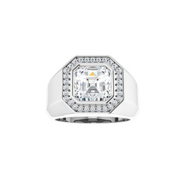 #3772 Heavy Platinum CanadaMark Conflict Free Diamonds 5ct. Asscher-Cut Diamond Men's Halo Ring