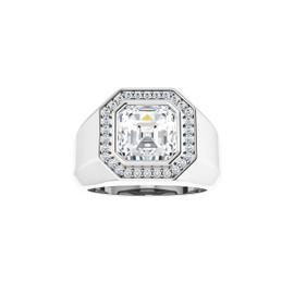 #10592 Heavy Platinum CanadaMark Conflict Free Diamonds 5 carat Asscher-Cut Diamond Men's Halo Semi-Mount Ring