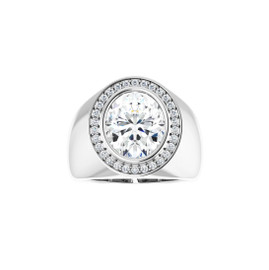 #4083 Heavy Platinum CanadaMark Conflict Free Diamonds 5ct. Oval-Cut Diamond Men's Halo Ring