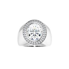 #10593 Heavy Platinum CanadaMark Conflict Free Diamonds 5 carat Oval-Cut Diamond Men's Halo Semi-Mount Ring
