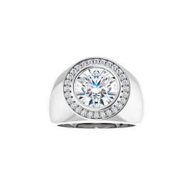 #10594 Heavy Platinum CanadaMark Conflict Free Diamonds 4 carat Round-Cut Diamond Men's Halo Smi-Mount Ring