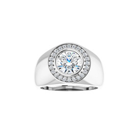 #10595 Heavy Platinum CanadaMark Conflict Free Diamonds 2ct. Round-Cut Diamond Men's Halo semi-mount Ring