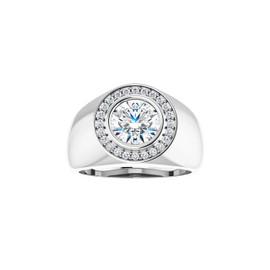 #10595 Heavy Platinum CanadaMark Conflict Free Diamonds 2 carat Round-Cut Diamond Men's Halo Semi-Mount Ring