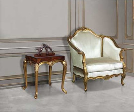 #10597 A French Louis Quinzième - 35 Inch Handmade Salon Bergere | Arm Chair - White Velvet Upholstery B053 - Metallic Luxurie Furniture Finish NF-9