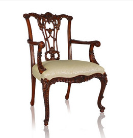 #10599 English Rococo - 39 Inch Handmade Dining | Arm Chair - Damask Upholstery 040 - Wood Stain Luxurie Furniture Finish MLSC