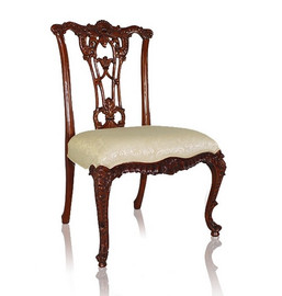 #10600 English Rococo - 39 Inch Handmade Dining | Side Chair - Damask Upholstery 040 - Wood Stain Luxurie Furniture Finish MLSC