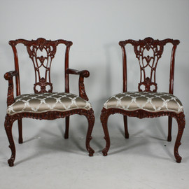 #10601 English Rococo - 39 Inch Handmade Dining | Arm Chair - Damask Upholstery 070 - Wood Stain Luxurie Furniture Finish MLSC