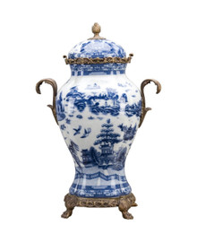 #Blue and White Porcelain Ormolu 18 Inch Covered Urn Centerpiece Jar 10608