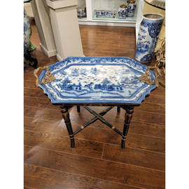 #Blue and White Porcelain Tray on Stand, Cocktail, Coffee, End Table Ormolu Trim - 10609