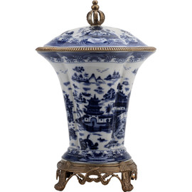 #Blue and White Porcelain Ormolu 18 Inch Covered Cassolette Urn Centerpiece Jar 10611