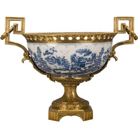 #Blue and White Porcelain Ormolu 23 Inch Centerpiece Bowl 10612