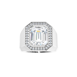 #10613 Heavy Platinum CanadaMark Conflict Free Diamonds 7 carat Emerald-Cut Diamond Men's Halo Semi-Mount Ring